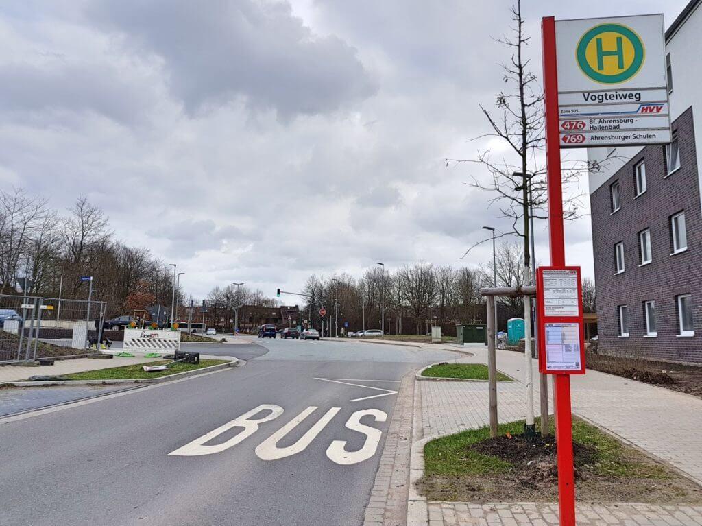 Bushaltestelle Vogteiweg, Erlenhof, Ahrensburg – Foto: Nicole Stroschein
