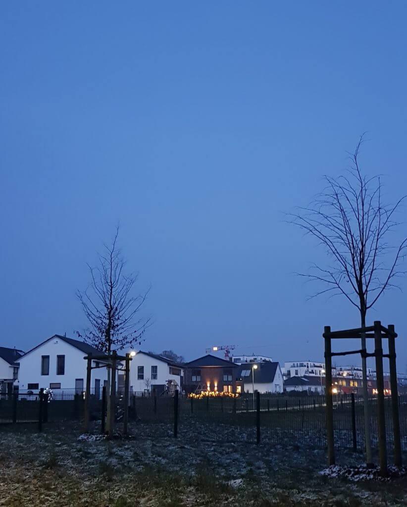 Wohngebiet Erlenhof in der Abenddämmerung – Foto: Nicole Stroschein