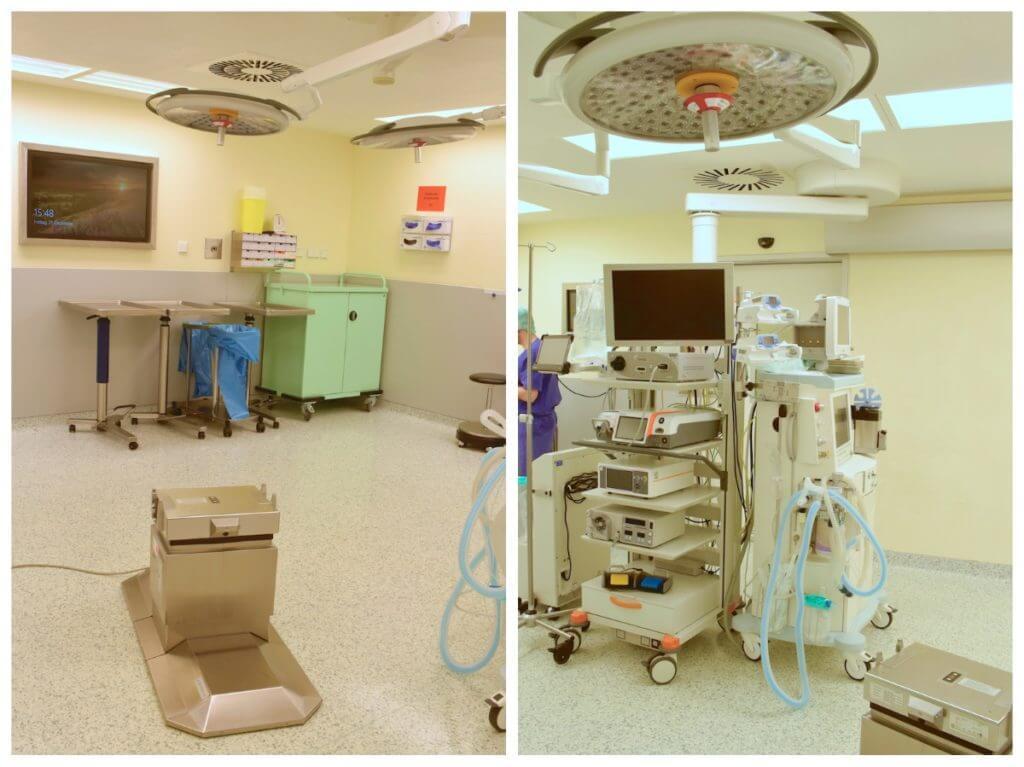 Ein leerer Operationssaal der Parkklinik. Kurz vor der OP wird der Patient direkt mit dem Tisch auf die hier leere Säule geschoben – Foto: Nicole Stroschein