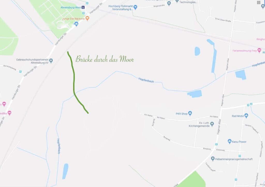 Die grüne Linie zeigt in etwa den Verlauf der Brücke durch das Moor – Quelle: Google Maps