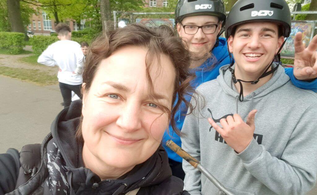 Nicole Stroschein, Marc und Benny im Skatepark Ahrensburg