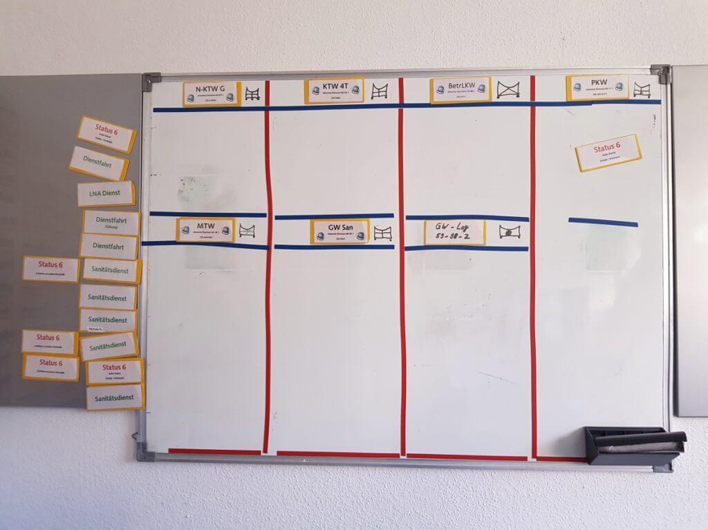 Der Einsatzplan für die Fahrzeuge des Malteser Hilfsdienst – Foto: Nicole Stroschein