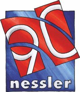 Kaufhaus Nessler, Ahrensburg. Das Logo zum 90. Geburtstag