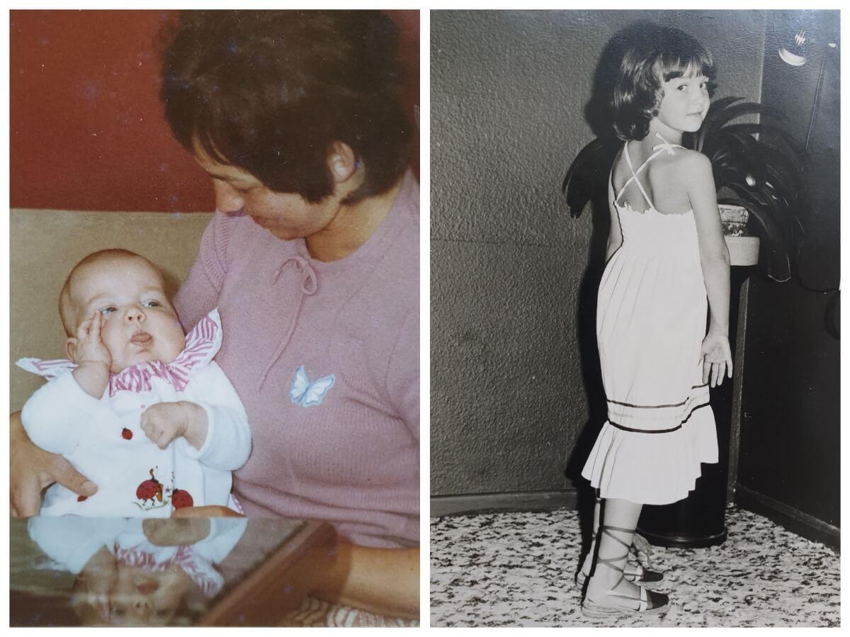 Wie alles begann: Ahrensburg-Blog-Autorin Nicole Schmidt in den Nessler-Outfits ihrer Kindheit