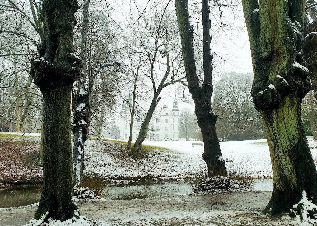 Schloss Ahrensburg im Januar 2021 neblig mit etwas Schnee