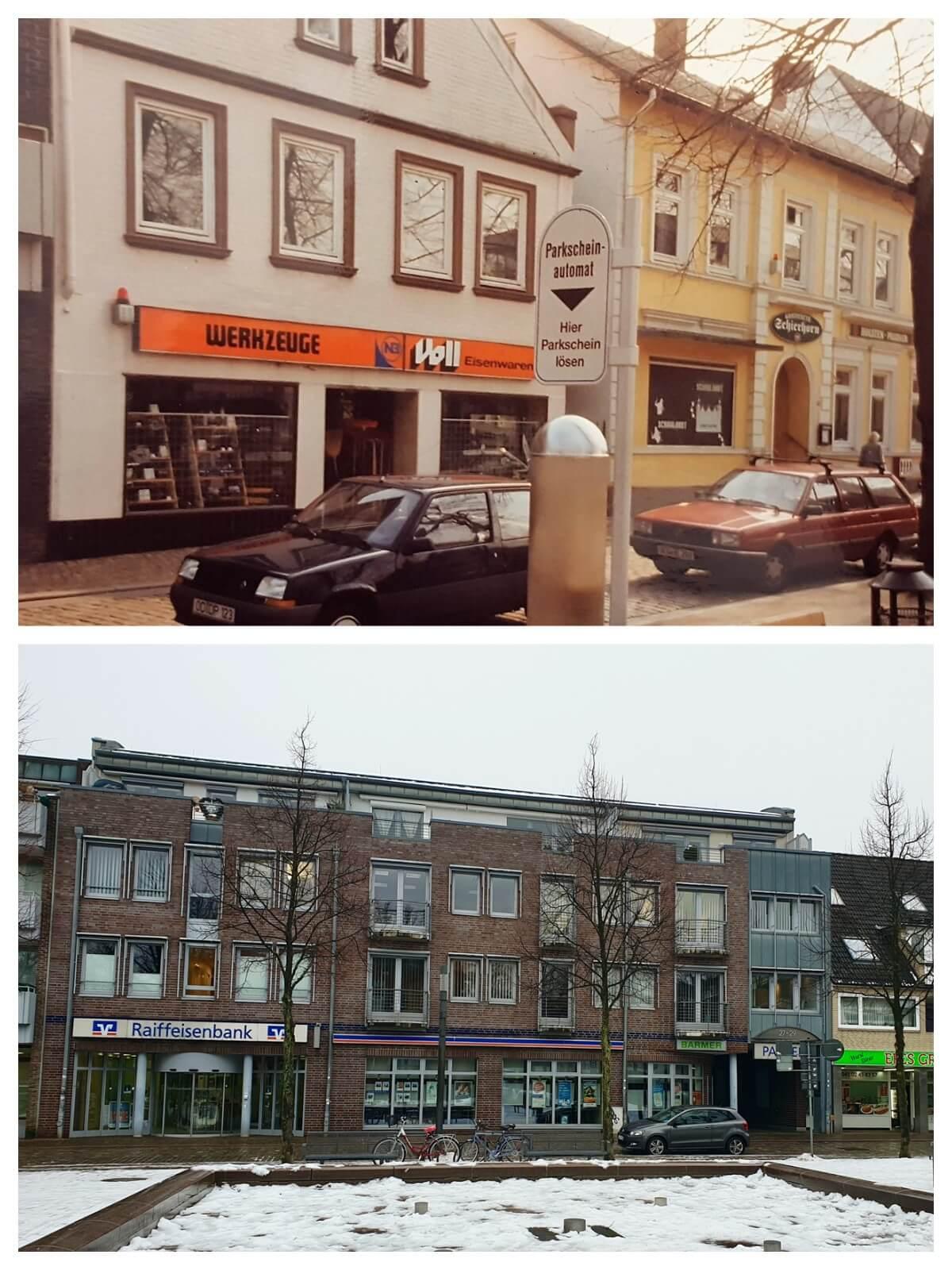 Große Straße 29 in Ahrenburg in den 90er Jahren und heute –Fotos: E. Stahmer/privatbesitz, Nicole Schmidt
