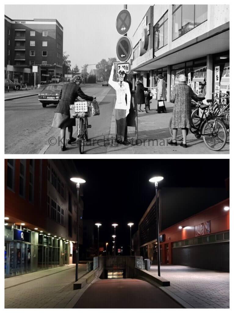 Klaus-Groth-Straße, Ahrensburg, 1976 und 2020 – Foto oben: Kreisarchiv Stormarn