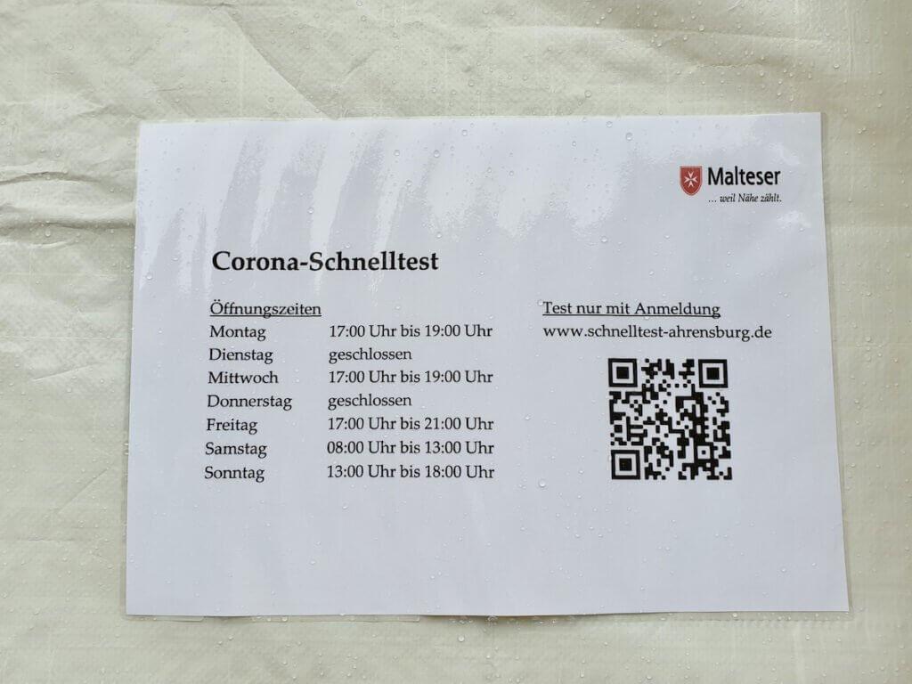 Corona Test in Ahrensburg, die Öffnungszeiten – Foto: Nicole Schmidt