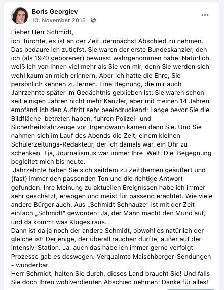 Brief an Helmut Schmidt von Boris Georgiev