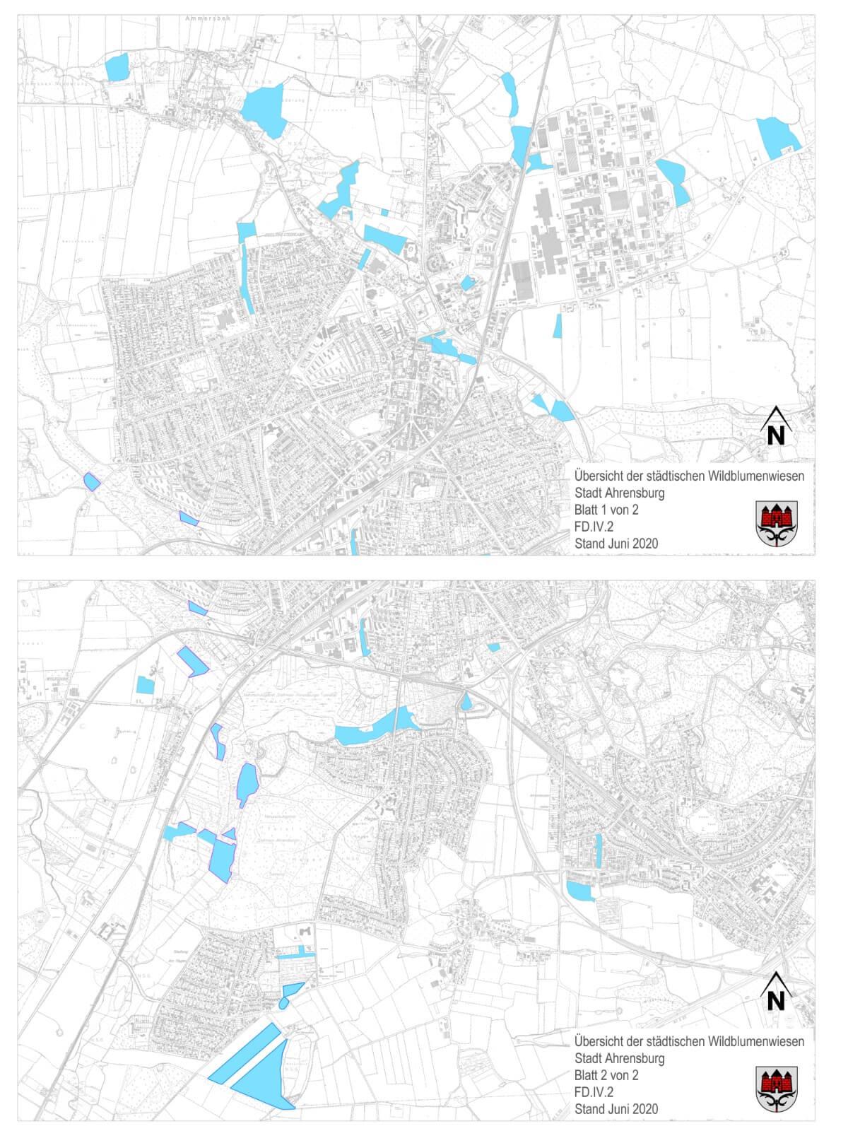 Übersicht der Wildblumenwiesen in Ahrensburg